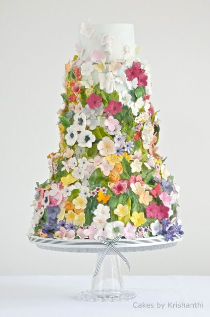 flower-covered wedding cake