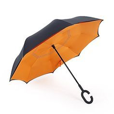 Windproof Uv protection Reverse Folding Double Layer Inverted Umbrella Travel Umbrella and Self Standing Inside Out Rain Protection Umbrella with C-shaped Hands Free Handle