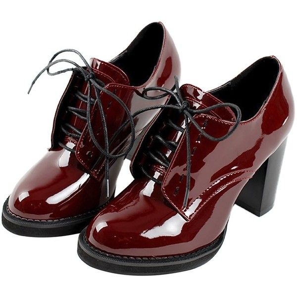 Inornever Wingtip Oxford Womens Lace Up Chunky High Heel Vintage Patent Leather Dress Pumps Shoes