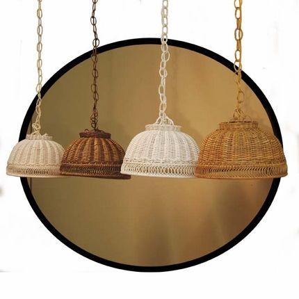 "14"" Hanging Rattan Wicker Lamp"