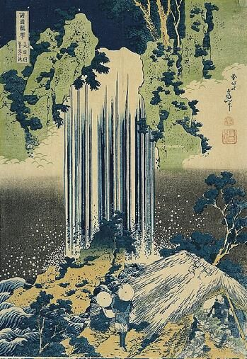 The Falls of Yoro, Province of Mino, c. 1827  Katsushika Hokusai  Japanese, 1760-1849 Color woodblock Oban Tate-e, 14-7/8 x 10-1/4 in.