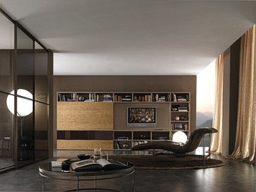 Via Houzz: modern family room & media wall. Looks like this is a sliding wall to cover the screen. Love the row of books across the top.