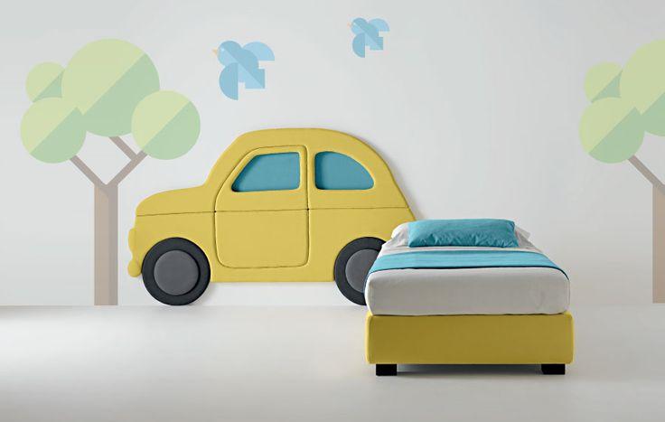 Bed Kids' World, Panel CAR, Sommier B-SIDE Lit enfant avec coffre rangement. by SAMOA, Italy