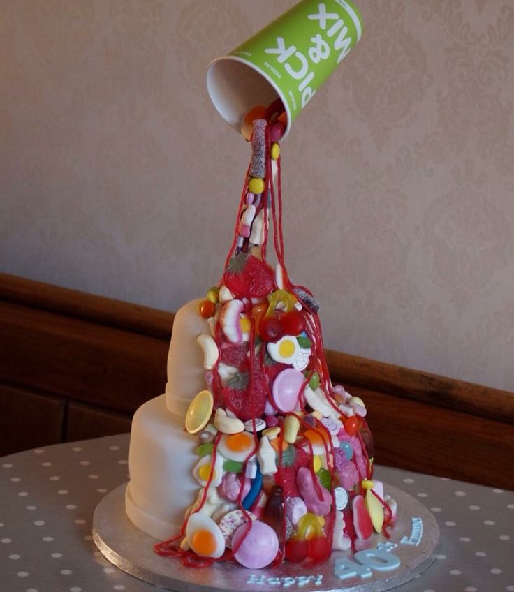 Sweettreats By Jen More Kids Cakes: Anti Gravity Sweets Cake For A Birthday Girl Turning 40