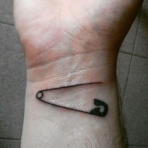 Black Safety Pin Wrist Tattoo