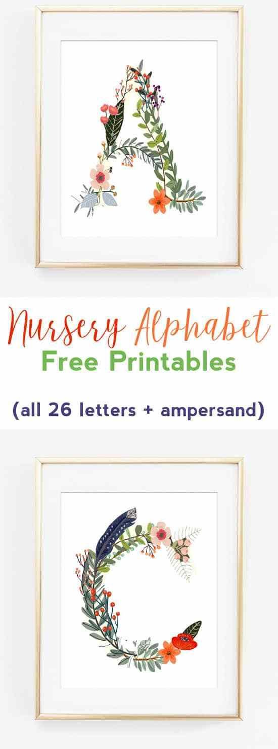 nursery alphabet free printables | nursery art | wall art ideas | woodland art