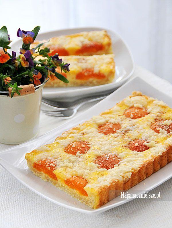 Serowa tarta z morelami, ciasto z morelami, ciasto z owocami, morele,, http://najsmaczniejsze.pl #food #cake #tarta #morele