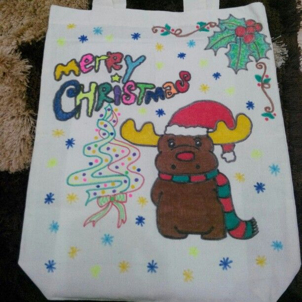 Rudolf The Rednose Reindeer - custom hand drawing totebag with christmas theme