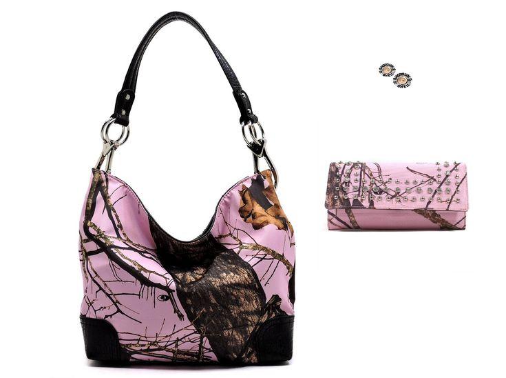 Mossy Oak Concealed Weapon Carry Handgun Camo Purse Wallet Earrings Set Pink (PINK/BLACK)
