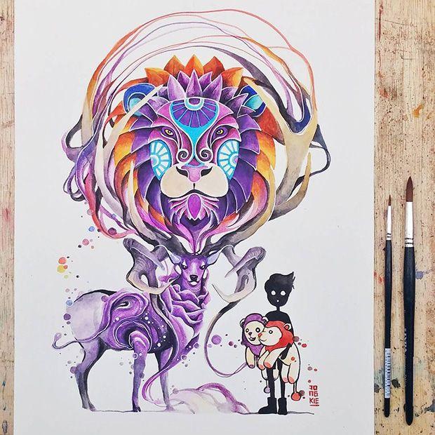Ilustrações em aquarela de  Luqman Reza/Jongkie;