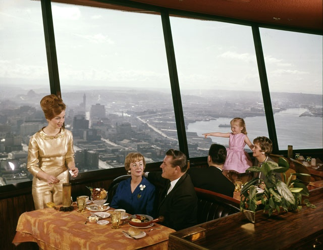 Diners at the Space Needle restaurant  1962 1199 best Places   Seattle   Washington Lifestyle images on  . Dinner Seattle Space Needle. Home Design Ideas