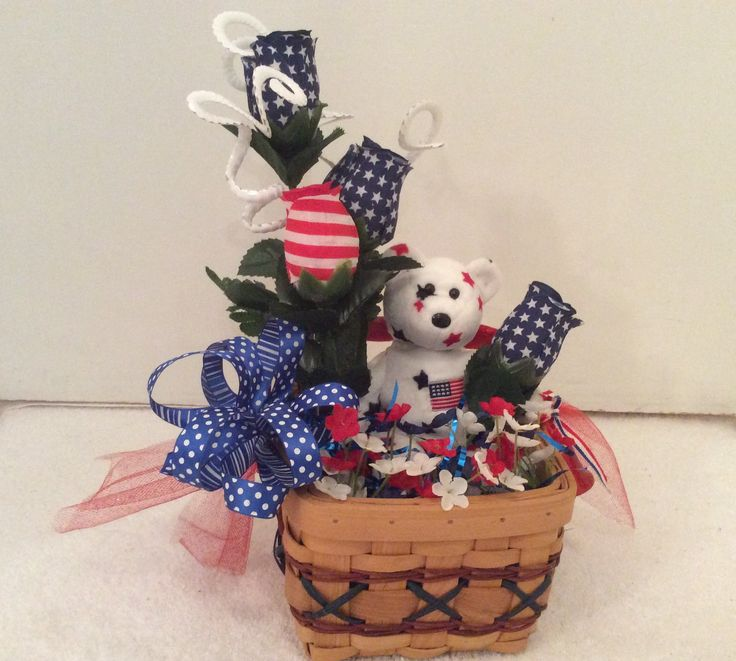 Patriotic basket arrangement, Americana decor, Fourth of July display, Memorial Day display, Patriotic floral basket with TY Teddy, by StylishDecorbyGClark on Etsy