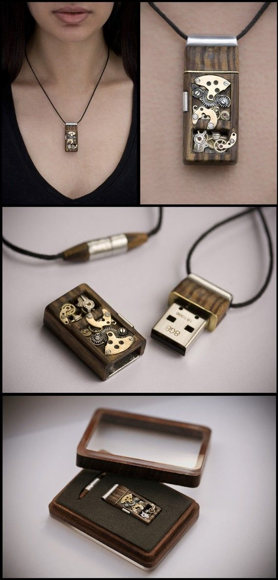 "Steampunk USB Drive necklace. My girlfriend bought me one of these as a gift.. Mine is a little smaller and more ""manish"" but It's great! the USB transfer rate is a little slow, but it comes in handy in a pinch...and is fashionable!"