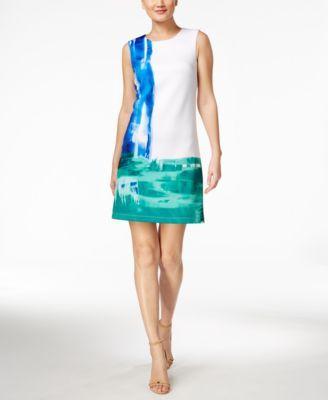 Calvin Klein Watercolor-Print Sheath Scuba Dress