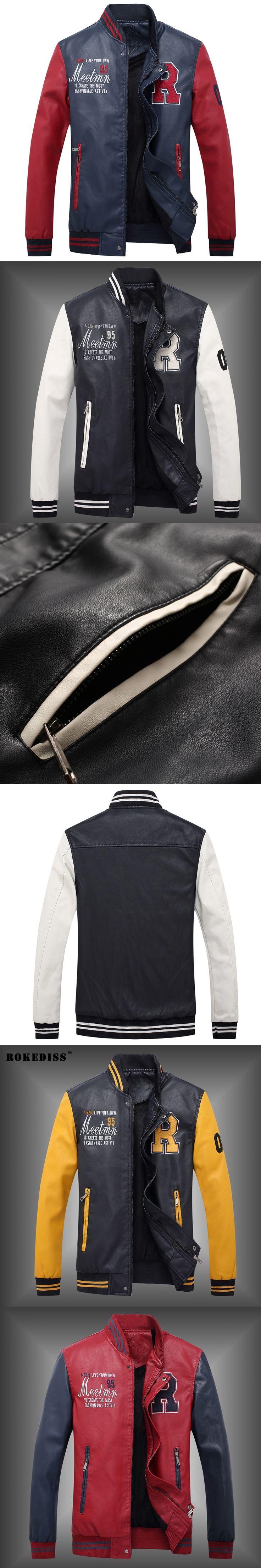 ROKEDISS 2017 New Men's Winter PU Jackets Coat Male Brand fashion personality Leisure Men PU Jackets Coat M-2XL W004
