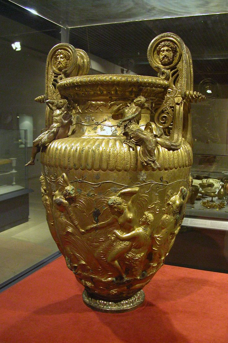 The Derveni Krater , an elaborated pot where ancient Greeks mixed undiluted wine with water and spices so that visitors of the banquet don't get drunk. It was found at Derveni , a small village outside Thessaloniki.It weighs 40 kg made of an alloy of bronze, endowed with a superb golden sheen using really no gold at all. It is exhibited in the Archaeological Museum of Thessaloniki , Macedonia Greece