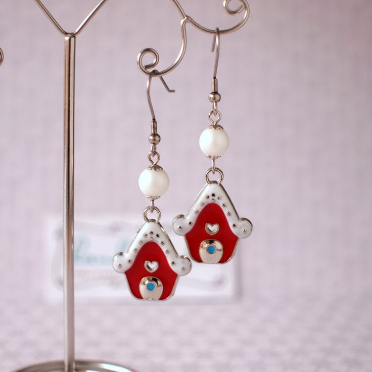 Christmas red house earrings Red and white earrings Faux pearls earrings Winter earrings Xmas jewelry Winter holiday gift Hypoallergenic by AnyankasHandiworks on Etsy