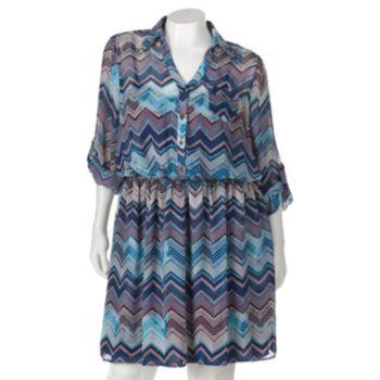 Speechless Chiffon Zigzag Dress - Juniors' Plus