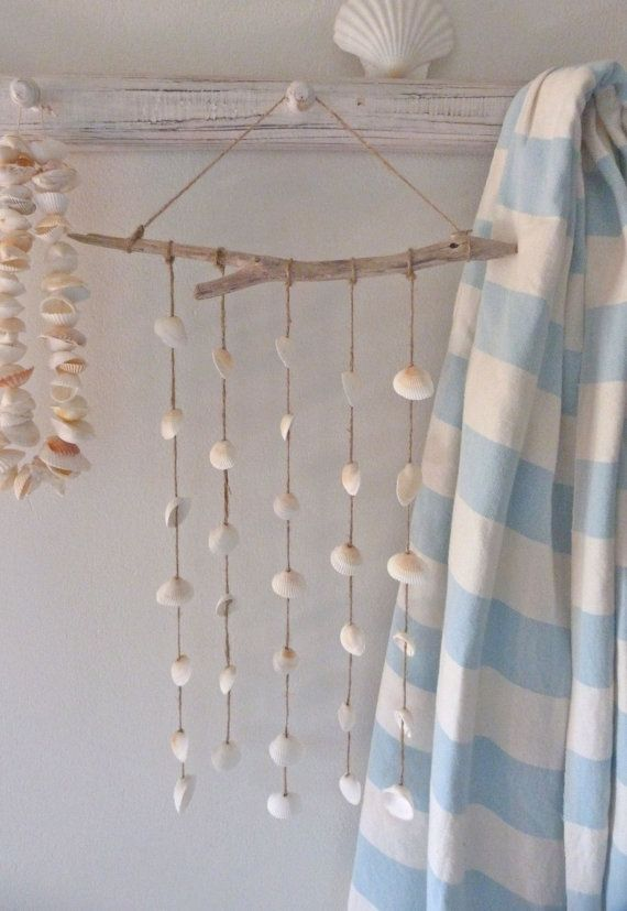 beachcomber driftwood shell mobile - wind chime - shabby beach boho - rustic home decor
