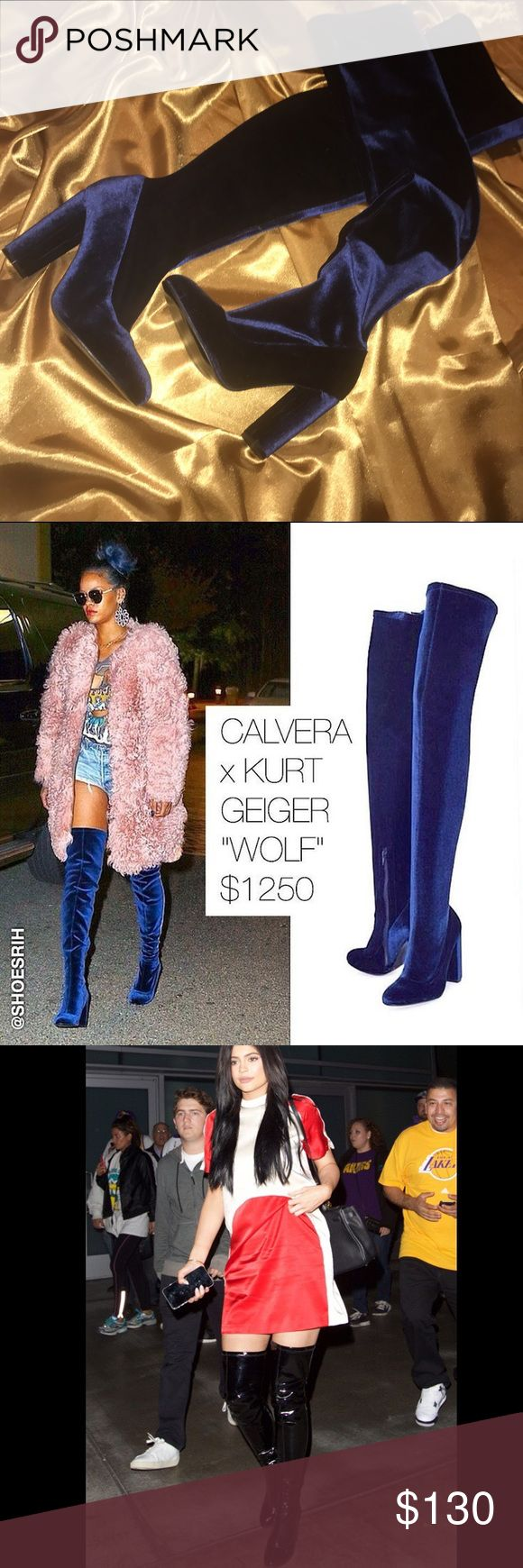 Kurt Geiger Velvet Thigh Highs seen on Rihanna Kurt Geiger Blue Velvet Thigh Highs as seen on Rihanna & Kylie Jenner. Kylie had on the black, leather version. Selling for a fraction of the price & open to offers. Never worn before! Size 39. There were no tags attached with purchase but can send my receipt. Kurt Geiger Shoes Over the Knee Boots