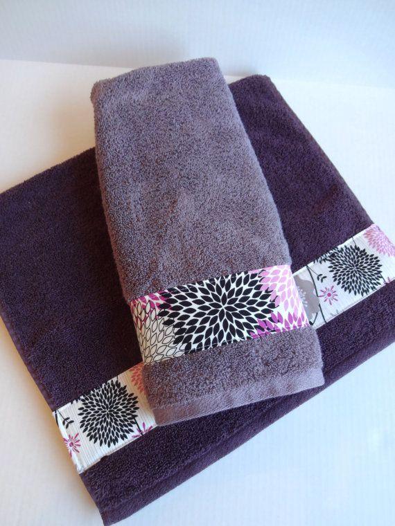 Hand Towels Custom Towels Purple Grey Black Purple By AugustAve. Bathroom  BathBathroom IdeasPurple ... Part 49