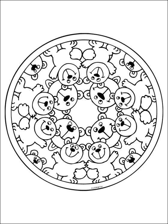 Free Printable Mandala Coloring Pages | Free mandala coloring page with bears. Printable page with mandala ...