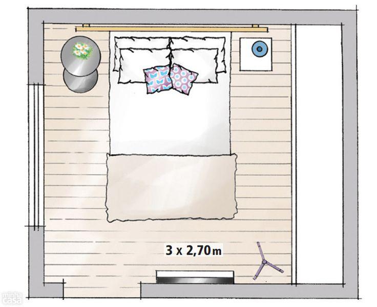 Calcule a posição do televisor para assegurar um bom ângulo de visão – e um amanhecer sem dores nas costas. Considerando-se a altura das camas box, de 60 cm a 70 cm, o limite inferior do aparelho deve ficar a cerca de 1,10 m do chão. Pendurada na parede, a TV fininha preserva a circulação de 65 cm. Guarda-roupas com abertura tradicional exigem um mínimo de 90 cm até a cama – caso contrário, as portas abertas bloqueiam a passagem. Já no caso dos modelos de correr, bastam 55 cm. Projeto da…