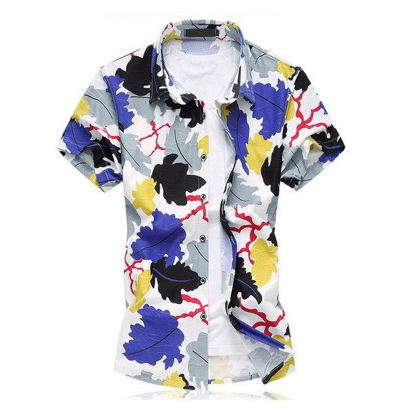Mens Beach Wear Hawaiian Shirt Plus Size 6XL 7XL Summer Short Sleeve Mens Floral Print Shirts 100% Mercerized Cotton