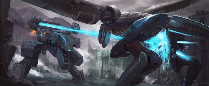 Metal Gear Rex vs. Metal Gear Ray , Cam Floyd on ArtStation at https://www.artstation.com/artwork/RL3ae