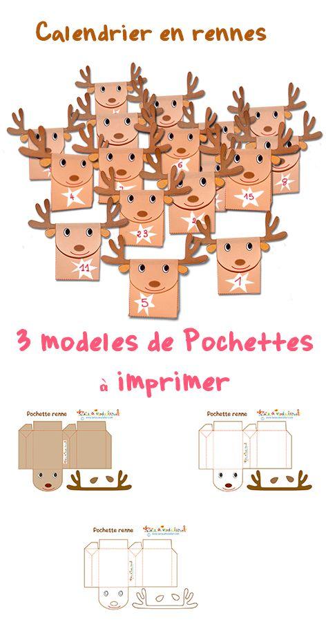 Pochette renne de Noël à imprimer pour faire un calendrier ou des pochettes cadeau : http://www.teteamodeler.com/renne-du-pere-noel-en-pochette