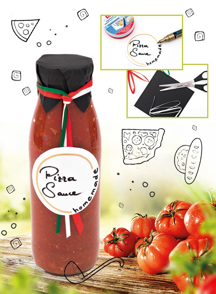 Bella-Italia-Pizzasauce! Das Einkochen, Einmachen und Einlegen ist eine schöne Idee für selbstgemachte Geschenke! Probieren Sie unsere feine italienische Pizzasauce, die ganz einfach selbst eingekocht werden kann und hervorragend schmeckt. Alle Bastelschritte für den Anhänger und das Rezept finden Sie auf www.pagro.at.