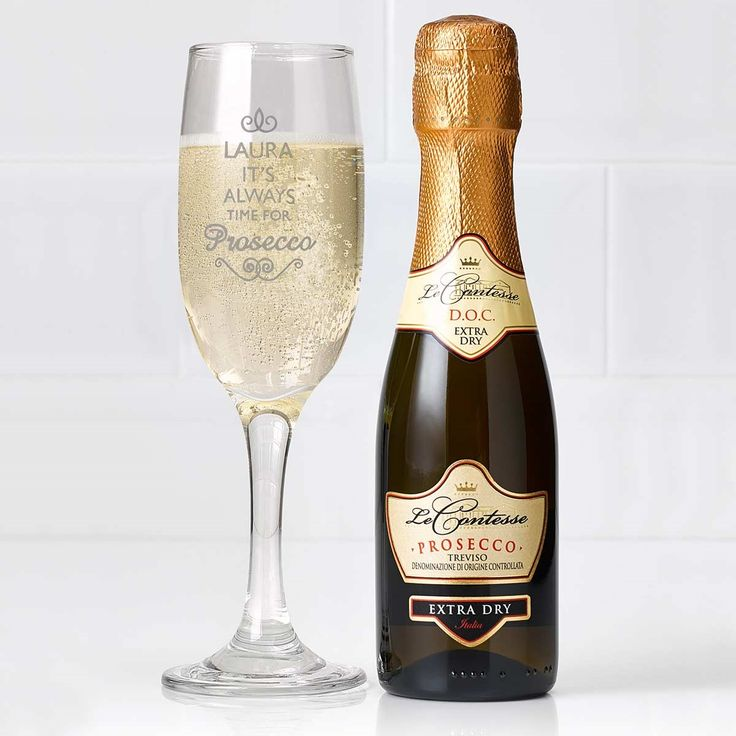 Personalised Prosecco Gift Set - Exclusive to The Present Finder - you won't find this fabulous gift set anywhere else! Add some sparkle to a special occasion with this gorgeous gift set containing a Personalised Prosecco Glass and a 20cl bottle of sparkling Italian Prosecco!