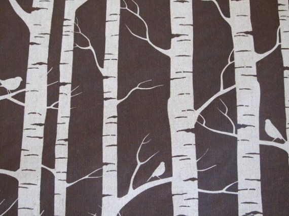 Birch Fabric  Chocolate Brown on Natural  Fat by pepperberryandco