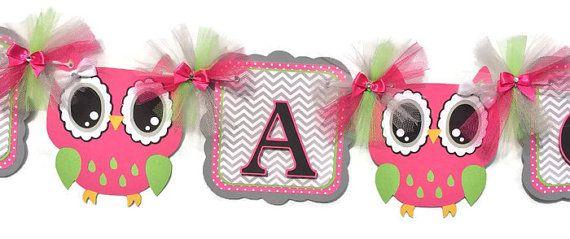 Bandera de buho bebé búho decoraciones de buho rosa buho