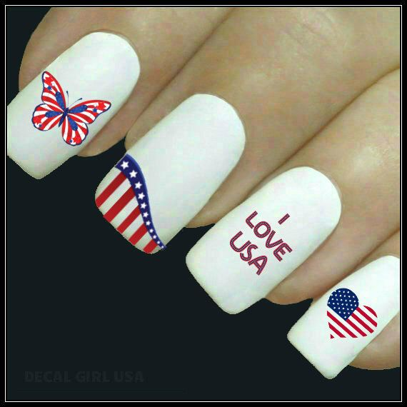 Nail Decal Patriotic Nail Art July 4th 20 Americana Water Slide Decals Fingernail Decals Memorial Day Nail Tattoo by DecalGirlUSA on Etsy https://www.etsy.com/listing/182355197/nail-decal-patriotic-nail-art-july-4th