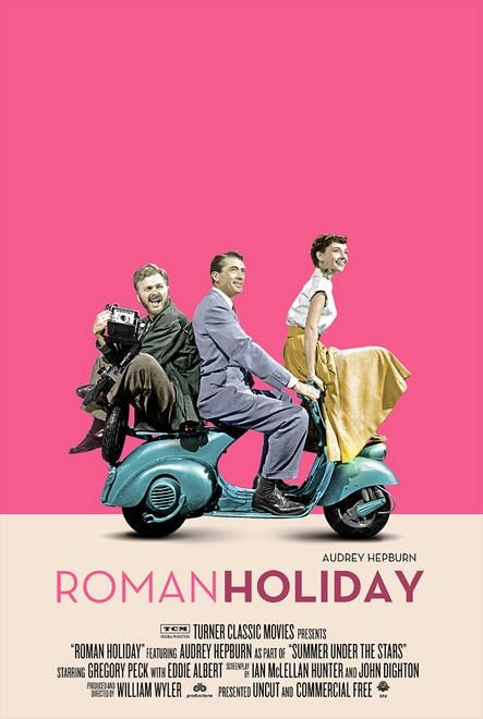 Roman Holiday movie poster with Gregory Peck and Audrey Hepburn