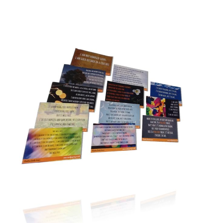 Mantra cards for grounding, coping with flashbacks and triggers - set of 12 cards for Positive Outcomes for Dissociative Survivors