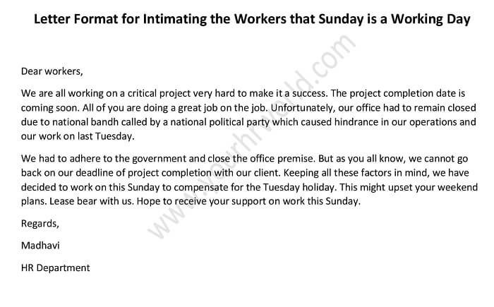 Letter Format For Intimating The Workers That Sunday Is A Working Day Hr Letter Formats Job Letter Letter Format Sample Lettering