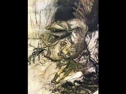 "The Ride of the Valkyries, by Richard Wagner, in a classic recording with Wilhelm Furtwangler and the Vienna Philharmonic. Illustrations are by Arthur Rackham.  ""One golden summer in adolescence...I heard the 'Ride of the Valkyries' on a gramophone and saw Arthur Rackham's illustrations to The Ring."" (C.S.Lewis). Recorded 60 years ago."