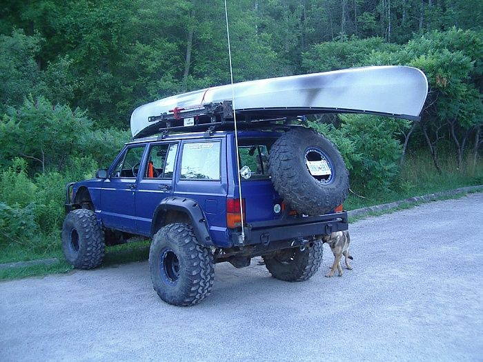 This One Has It All: Cherokee, Tire Carrier, Roof Rack, Canoe, Lift,  Bumpers, Tires, Flairs, U0026 Hi Lift. | Jeeps | Pinterest | Roof Rack,  Cherokee And ...
