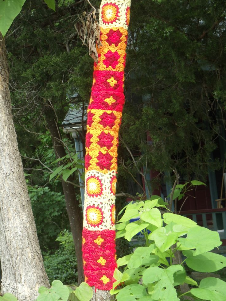 Knitting On Trees In Greasby : Best images about yarn bombed trees poles on
