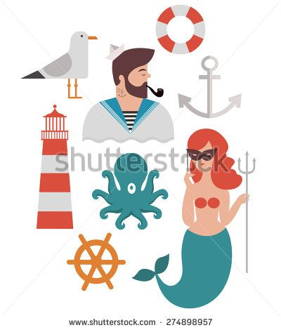 Sailor Design Flat Elements. Marine theme icon set include seagull, octopus, mermaid, sailor, lifebuoy, helm and anchor. - stock vector