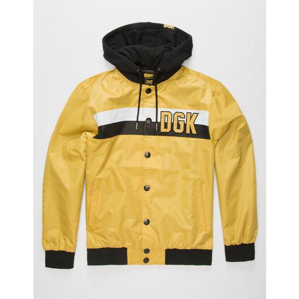 Dgk Hitter Custom Jacket ($80) ❤ liked on Polyvore featuring men's fashion, men's clothing, men's outerwear, men's jackets, mens embroidered jacket, men's sherpa lined jacket, mens hooded bomber jacket, mens hooded jackets and mens collared jacket