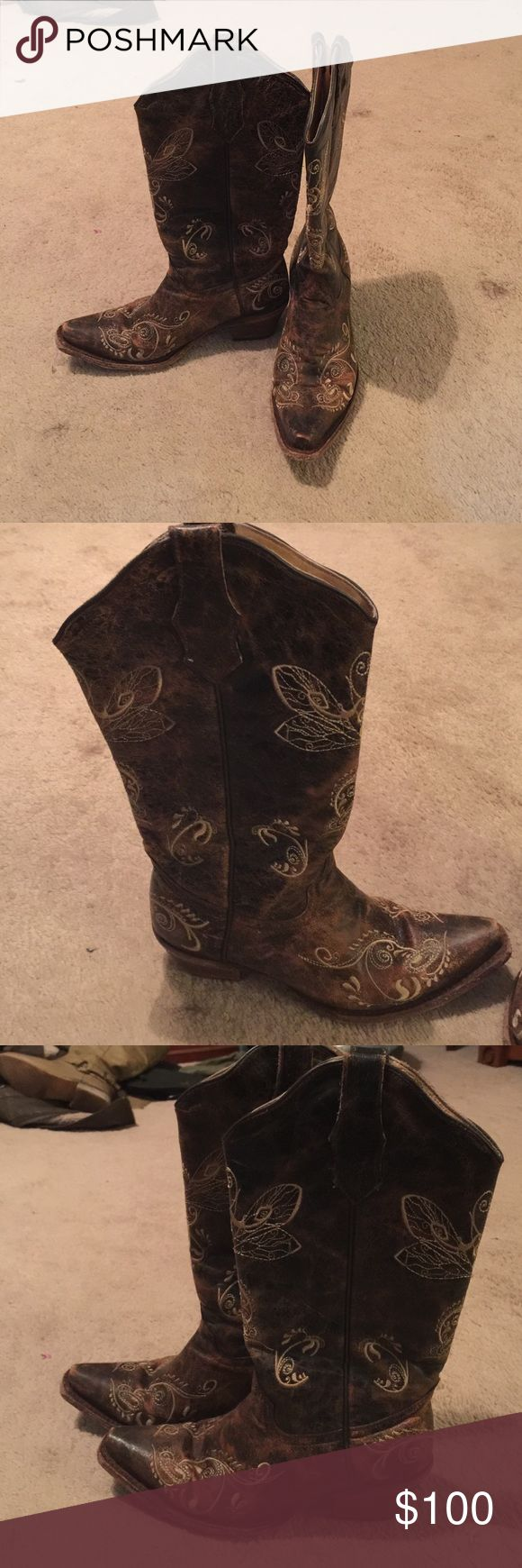 Brown cowboy boots Brown cowboy boots circle G Shoes Heeled Boots