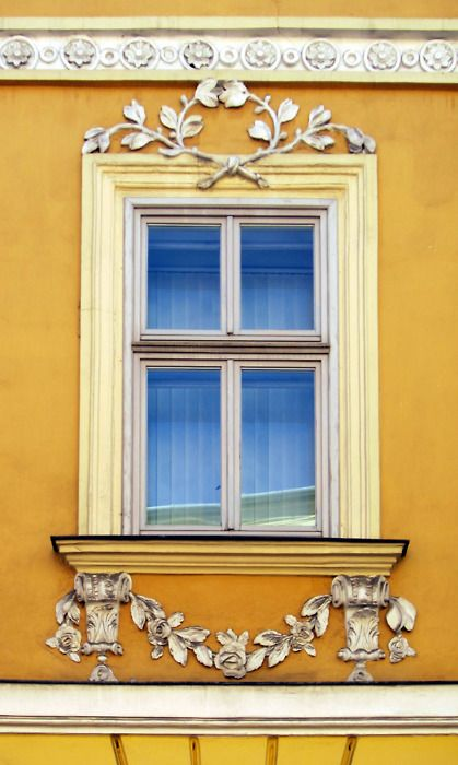 Empire Window with Rose Garland: Empire Window, Beautiful Yellow, Architecture Window, Yellow Wall, Doors Window, Blue Yellow, Rose Garlands, Krakow Poland, Beautiful Things