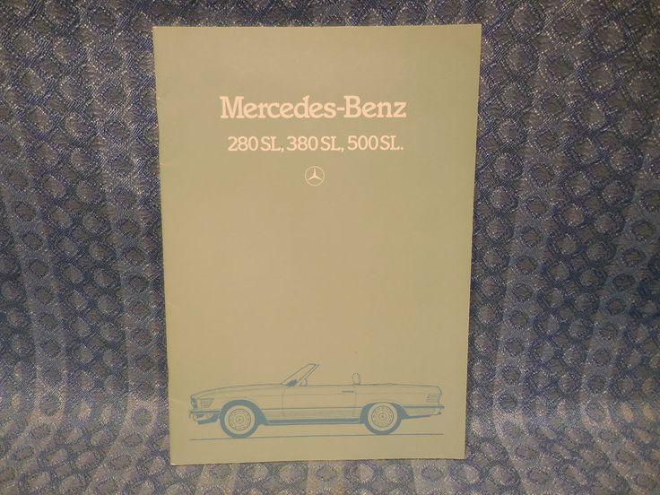 1983 1985 Mercedes Benz 280sl 380 Sl 500sl Original Sales Catalog U S Market Mercedesbenz Mercedes Benz Mercedes Benz