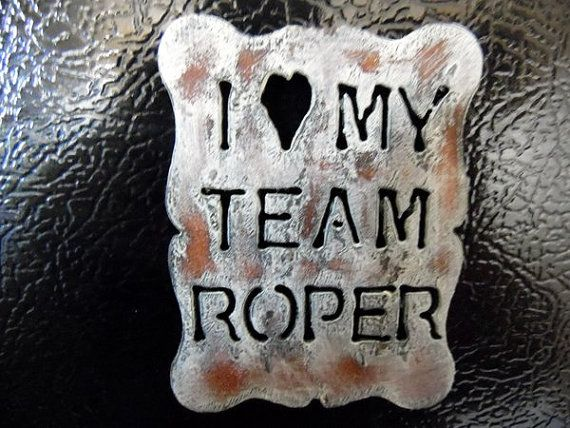 """I Love My Team Roper"" Magnet by Whippoorwill Valley.  Perfect in your home, tack room or horse trailer to display a picture or reminder on any magnetic surface."