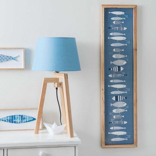 Lampada treppiede in legno e abat-jour blu H 50 cm