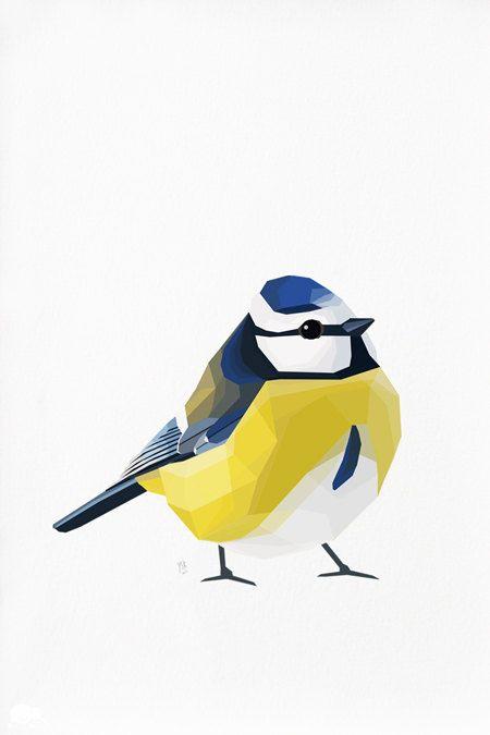 Geometric illustration Blue tit Bird print door tinykiwiprints