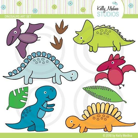 Dinosaurio - Clip Art Set - uso comercial de elementos digitales para tarjetas, papelería y artesanías de papel y productos